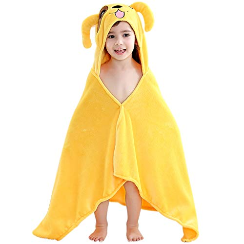 COOKY.D Baby Boys Girls Coral Velvet Animal Hooded Bath Towels for 2-7 Years, 60 x 120cm, Yellow Dog