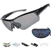 Fahrradbrille,Exclusky Sportbrille Sonnenbrille mit 5 Wechselgläsern UV400 für Frauen und Männer (Schwarz Rot)
