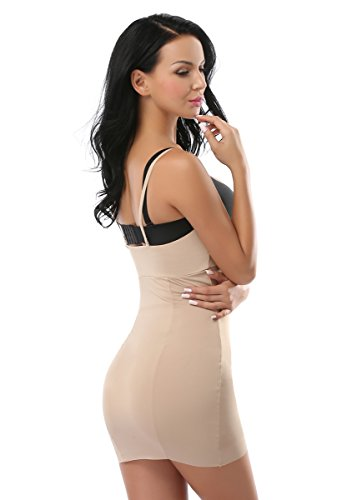 MissTalk Damen Schlank verstellbare Spaghetti-Träger Figurformende Miederkleid Body Shapewear Beige Kleid