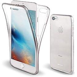 Moozy Coque Intégrale pour iPhone Se, iPhone 5S Transparente Silicone Antichoc - 360 Degres Protection Avant et Arriére Etui Housse Case