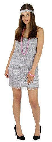 Foxxeo 40202 |20er Jahre Damen Kleid Charleston Kostüm Fransen silber, (Kleid Halloween Flapper)