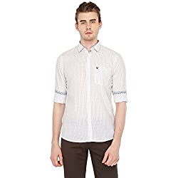 Allen Solly Mens Checkered Slim Fit Casual Shirt (AMSF318G00194344_White with Red)