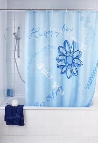 WENKO 20055100 Anti-Schimmel Duschvorhang Happy - Anti-Bakteriell, waschbar, mit 12 Duschvorhangringen, 100 % Polyester,