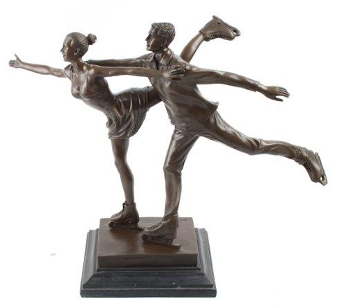 - Scultura in bronzo con tema pattinaggio sul ghiaccio, motivo: Innamorati seduti su Base in marmo Milo Signed