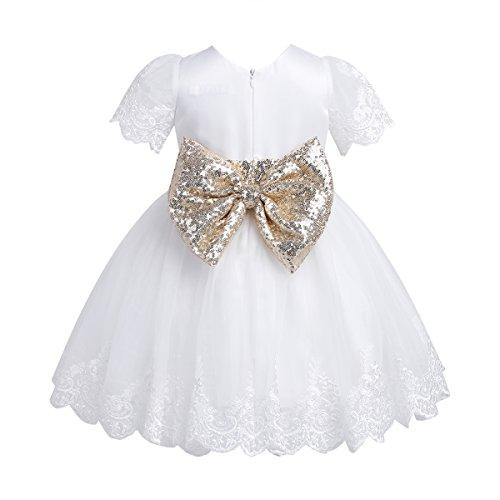 Tiaobug Baby Mädchen Kleid mit Blumen Spitzen und ...