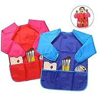 Delantales de Niños, BELLESTYLE 2 Pack Delantal para Cocina y la Pintura para 3-6 Años Niños (Azul and Rojo) (Blue and Red)