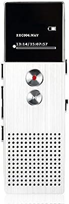 AGPTek M23- Grabadora de Voz digital 8 GB, Reproductor de MP3 con función Altavoz y FM radio, Plateado