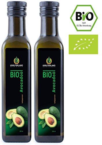 BIO Avocadoöl • BIO-zertifiziert • ab 9,90 • 500ml • Kaltgepresst • 100% Naturrein • zum Braten oder Grillen • Speiseöl und Naturkosmetiköl • für Gesicht, Haut und Haare • Gourmetküche: Kräuterland Natur-Ölmühle (2 x 250ml)