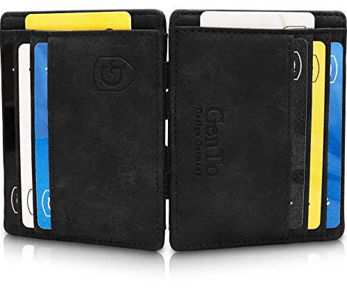 GenTo® Magic Wallet Monte Carlo - TÜV geprüfter RFID, NFC Schutz - Dünne magische Geldbörse ohne Münzfach - Geschenk für Damen und Herren - erhältlich in 3 Farben | Design Germany (Schwarz - Soft)