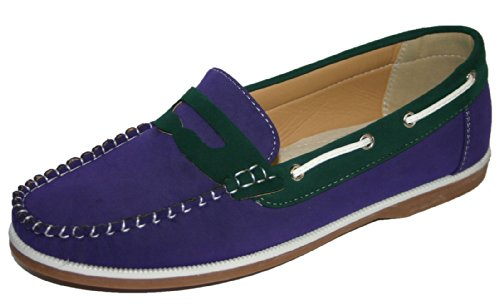 Coolers Damen Faux Nubuck Leder Loafer Lace Up Boot Deck Schuhe Größen 4–8, Violett - Purple/Green Slip On - Größe: 38/38.5 EU