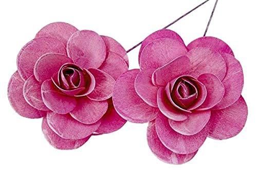 Holzrosen Erika pink weiß Gewaschen 12 Stück Tischdeko Ø 11cm Grabgestecke Bastelmaterial Holz Rose Dekorosen Kunstrosen Blumendeko