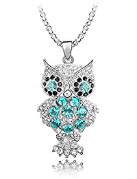 Silver Crystal Diamond Accent Owl Pendant Chain Necklace Made with Swarovski Crystal, with a Gift Box