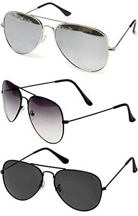 Combo Set of 3 UV Protect Aviators Unisex sunglasses & goggles for Men/Women with three Boxes (SilverSilverMercury/HalfBLack/FullBlack)
