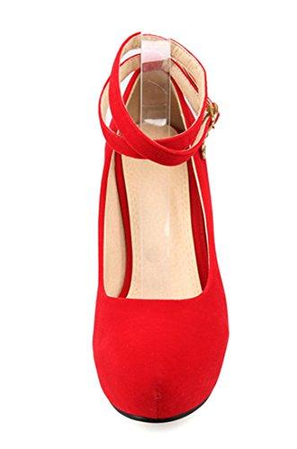 YE Damen Blockabsatz High Heels Plateau Wildleder Runde Spitze Geschlossen Pumps mit knöchelriemchen Elegant Party Kleid Schuhe Rot