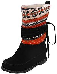 17d17e6774a RBNB Chaussure Femme Talon Bout Rond Augmentation dans Automne d hiver  Bottes Classiques Rétro Bottes