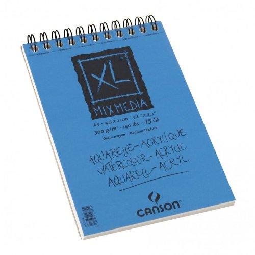 Canson 200001872 Spiralblocks Mix Media Zeichenpapier, 300 g/qm, 15 Blatt pro Block 'Spirale an der...