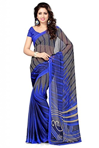 Vaamsi Chiffon Saree with Blouse Piece (Rolex3002_Blue_One Size)