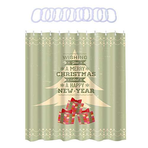 uschvorhang mit Weihnachten Druck Wasserdichter Geruchloser Umweltfreundlicher Duschvorhang ()