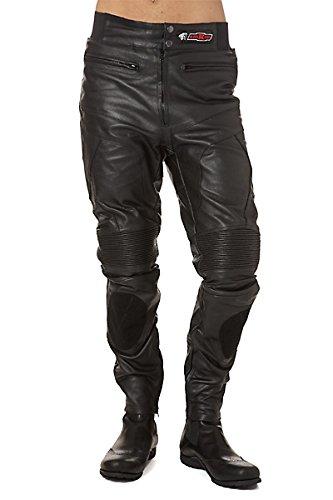 Pantaloni di pelle nera con chiusura in velcro con due tasche e l'applicazione elastica con bassa chiusura e una patch personalizzato, fodera in poliestere. Modello KR-LT02. Colore nero. Taglia XXL.