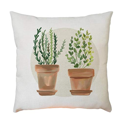 Keepwin Funda de cojín con patrón de Cactus de Plantas de Estilo Natural, Funda de Almohada Decorativa de Lino y algodón para sofá, Oficina, 45 x 45 cm, Mulitcolor B, 45 * 45cm
