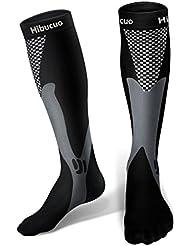 Hibucuoo Chaussettes de Compression pour Hommes et Femmes, Meilleure Forme Sportive pour Courir, infirmières, ashtoises au Tibia, Voyage en Avion et Grossesse de maternité.