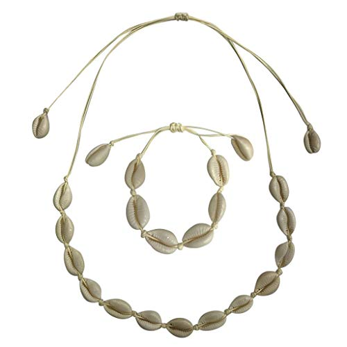 , Bohemian Retro Vintage Natürliche Süßwasser Muschel Halskette Armband Einstellbare Handgemachte Hawaii Halskette Schmuck Set für Mädchen Dame Schlüsselbein (beige) ()