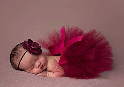 Butterem Neugeborene Baby Säugling Fotografie Stütze Kostüm Outfits Tutu Rock Outfits Blume Stirnband Set, Dunkelrot