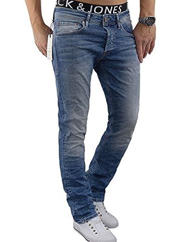 JACK & JONES Herren Jeans Hose jjiCLARK 993 Used Look Blue Denim Sitzfaltenoptik Regular Fit (W31/L32, Blau)