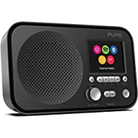 Pure Elan IR5 Portable Internet Radio with Bluetooth, Spotify Connect, Alarm, Colour Screen, AUX Input, Headphones Output and 12 Station Presets – Wi-Fi and Bluetooth Radio/Portable Radio - Black