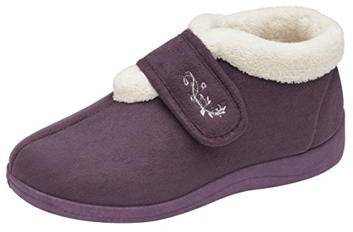 Womens Dunlop Deloris Fleece Lined Wide Fit Slipper (6 UK, Purple)