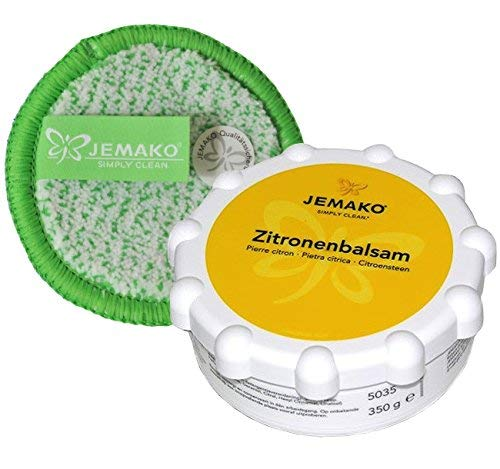 JEMAKO Set Zitronenbalsam 350g für Metall Edelstahl Glaskeramik Duopad grün mini Ø 9,5 cm