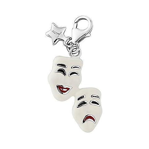 En argent sterling à clipser pour Tingle Masques Comédie et Tragédie Charme sch296