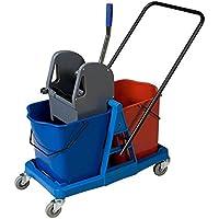 Carro de limpieza con doble cubo de 25 litros y prensa. Carro de fregado profesional con ruedas y doble cubo
