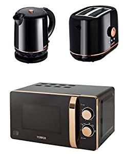 Tower Kitchen Retro Rose Gold & Black Manual 20L Microwave, 1.5 Litre Jug 2200W Kettle & Rose Gold & Black 2 Slice Toaster