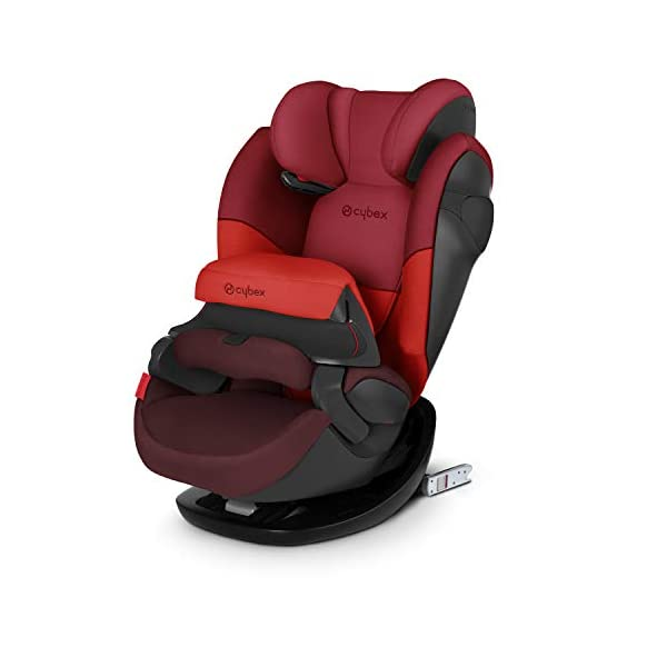 CYBEX Silver Pallas M-Fix 2-in-1 Child's Car Seat, For Cars with and without ISOFIX, Group 1/2/3 (9-36 kg), From approx. 9 Months to approx. 12 Years, Rumba Red Cybex Sturdy and high-quality child car seat for long-term use - For children aged approx. 9 months to approx. 12 years (9-36 kg), Suitable for cars with and without ISOFIX Maximum safety - Depth-adjustable impact shield, 3-way adjustable reclining headrest, Built-in side impact protection (L.S.P. System), Energy-absorbing shell 12-way height-adjustable comfort headrest, One-hand adjustable reclining position, Easy conversion to Solution M-Fix car seat for children from 3 years (group 2/3) by removing impact shield and base 1