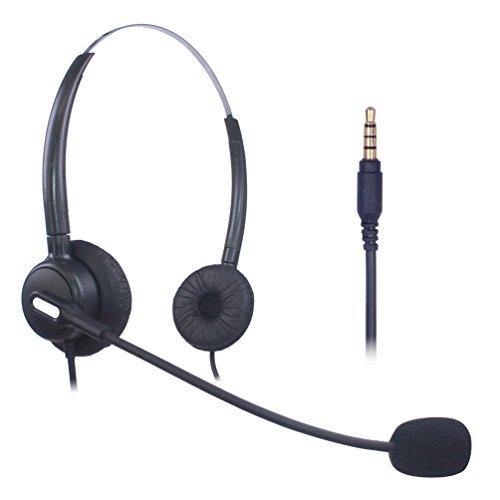 Xintronics Handy Headset Binaural, Noise Cancelling Mikrofon, 3,5mm Klinke Kopfhörer für iPhone Samsung Huawei Blackberry HTC ZTE LG Mobiltelefon und Smartphones(X203-35M1)
