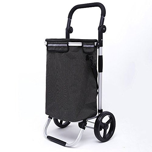 JUN-Einkaufstrolleys Faltbarer Einkaufswagen aus Aluminiumlegierung Einkaufswagen 2 Größere Verschleißfeste Räder Zusammenklappbare Ziehwagen Oxford Tuch Tragbarer Tote Große Kapazität 40L in Schwarz
