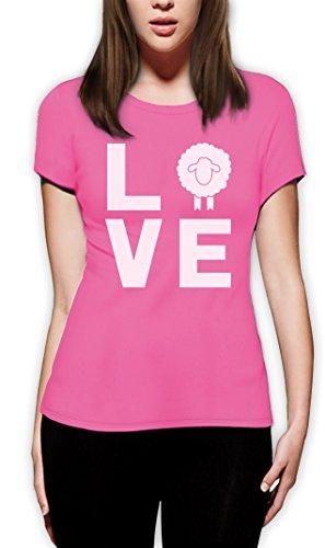 I Love Schaf - DAS Geschenk für Schaf vernarrte Damen T-Shirt Slim Fit Rosa