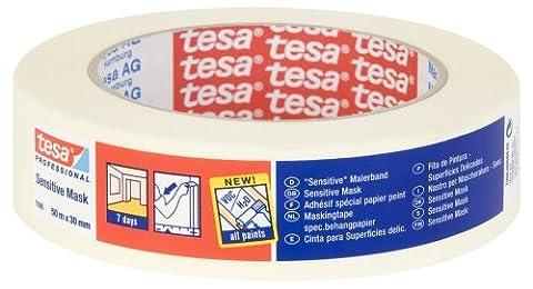 tesa 70060000602 Sensitive Surfaces Low Tack Masking Tape, 7 Days Residue Free Removal, 50 m x 30 mm