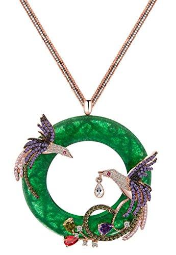 KnSam Donne Placcato in Oro Rosa Per la Collana Anello di Giada Phoenix Serpente Verde Cristallo Zirconia Cubica [Novità Collana] - Oro Giada Anello