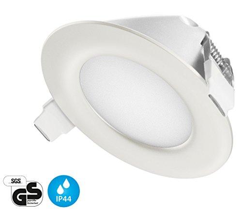 Ultra Flach LED Einbaustrahler IP44 | auch für das Bad geeignet | Warmweiß 4W 230V Rahmen weiss Rund Einbauspots Einbauleuchten Badleuchten (Warmweiss)