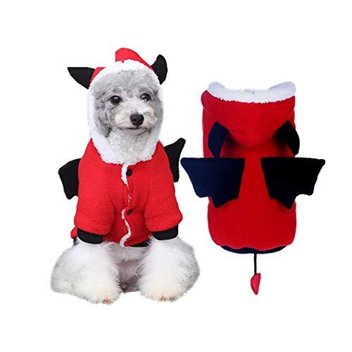 Thanksgiving Katze Kostüm Hunde - Voolok Herbst Winter Warm Hund Katze Halloween-Kostüme, mit Fledermausflügeln, weich und komfortabel, süß und stilvoll, für Thanksgiving Day Geburtstage Hochzeiten Paraden