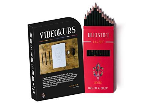 DIVIRI Bleistift Set mit gratis Videokurs - 12 verschiedene Härtegrade: 8B, 7B, 6B, 5B, 4B, 3B, 2B, B, HB, H, 2H, F - ideal zum Zeichnen und Skizzieren - für Kinder und Erwachsene - 4b Bleistift-set Hb 2b 6b