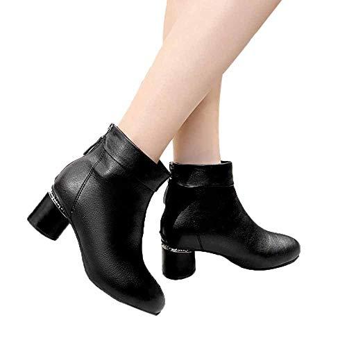 TianWlio Stiefel Frauen Herbst Winter Schuhe Stiefeletten Boots Mode Einfarbig Dick Mit Reißverschluss Stiefel Mid-Tube Stiefel