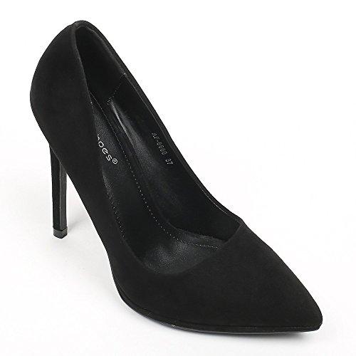 Ideal Shoes–Escarpins effetto camoscio noeva Nero