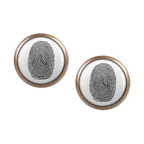 Cia Agent Kostüm - Mylery Ohrstecker Paar mit Motiv Finger-Abdruck Finger-Print Linien bronze 12mm