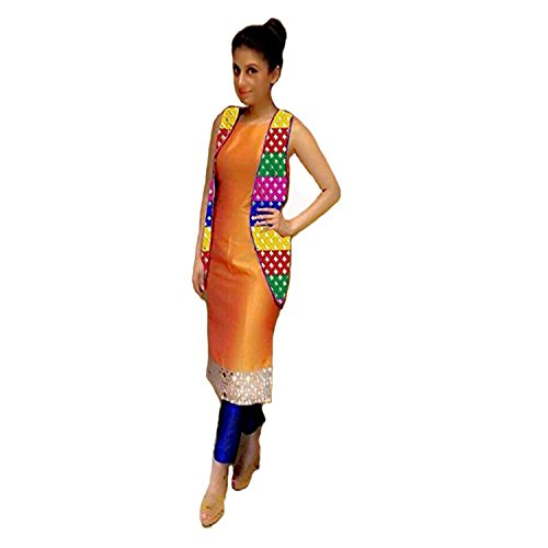 vaankosh fashion orange cotton bollywood and partywear punjabi dress materials
