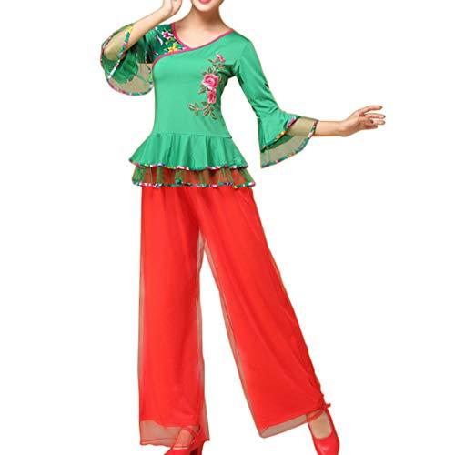 Yudesun Damen Tanzsport Bekleidung - Chinesischer Nationaltanz Kostüm Square Dance Mesh Pants Performance Bestickt Elegant Leichtgewicht