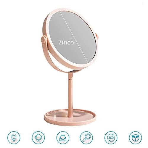 XIGG Runder Kosmetikspiegel Schminkspiegel Spiegel Kosmetik mit 1x / 3X Vergrößerung Tischspiegel 360°Drehbar Make Up Spiegel rund, Zweiseitig