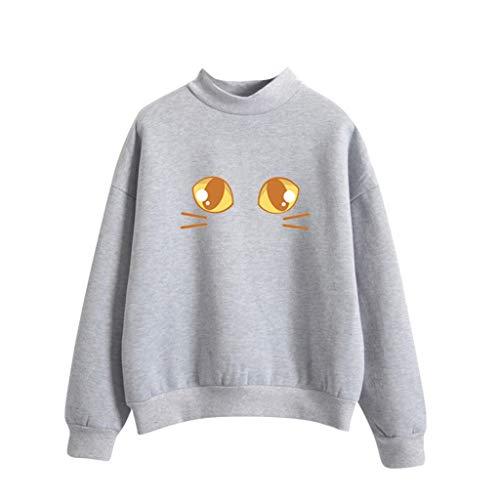 Damen Bekleidung Mode Lange Ärmel Lose Cat Drucken Sweatshirt Shirt Top T-Shirt